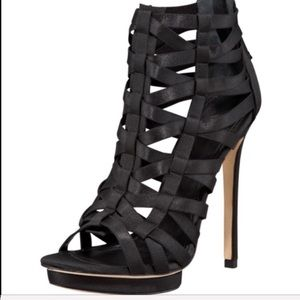 Brian Atwood black stretch caged platform booties